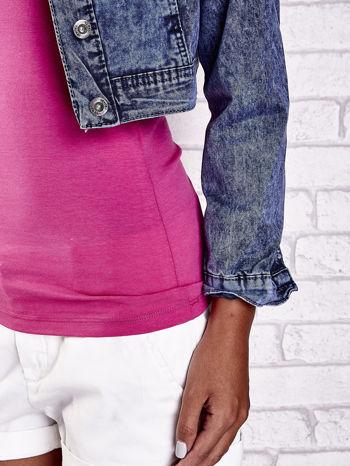 Granatowa jeansowa kurtka z kieszeniami i dekatyzacją                                  zdj.                                  10