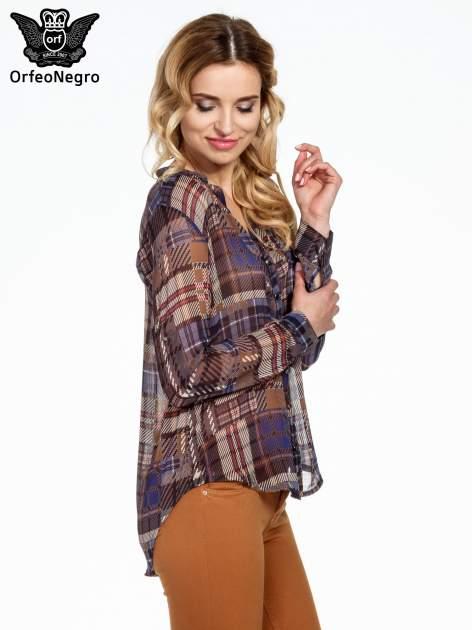 Granatowa koszula damska w kratę                                  zdj.                                  3