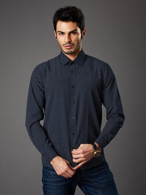Granatowa koszula męska o klasycznym kroju we wzory                              zdj.                              1