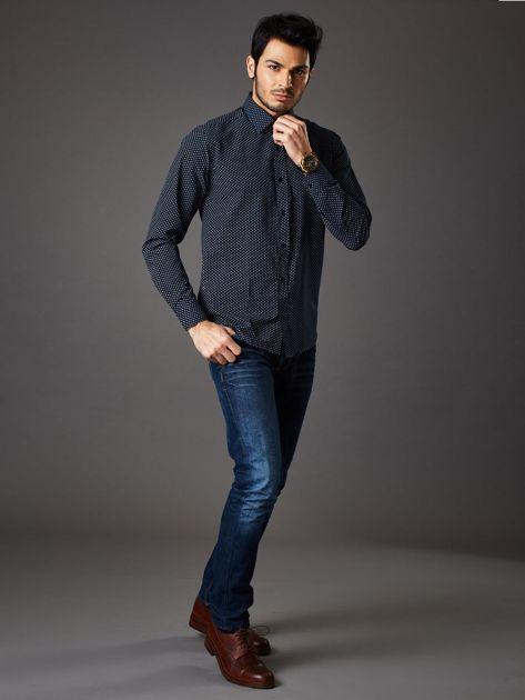 Granatowa koszula męska o klasycznym kroju we wzory                              zdj.                              4