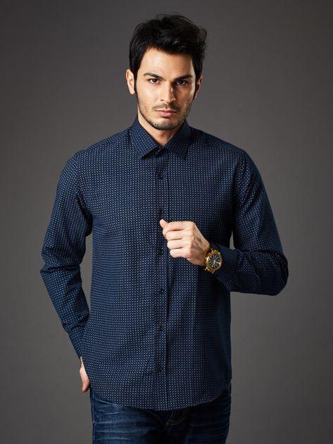 Granatowa koszula męska o prostym kroju w drobny wzór                              zdj.                              1