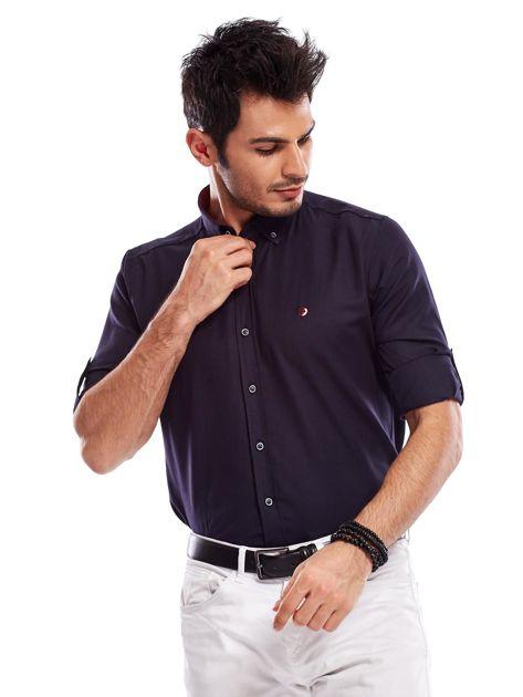 Granatowa koszula męska regular fit z podwijanymi rękawami                               zdj.                              6