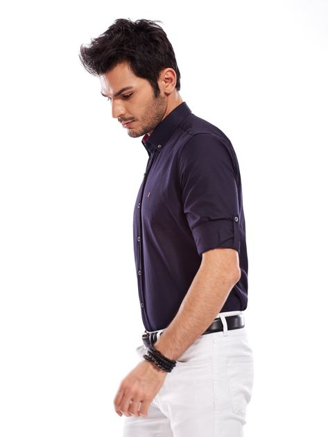 Granatowa koszula męska regular fit z podwijanymi rękawami                               zdj.                              3