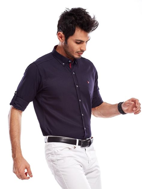 Granatowa koszula męska regular fit z podwijanymi rękawami                                   zdj.                                  9