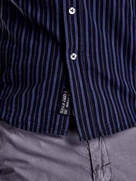 Granatowa koszula męska w drobne paski Funk n Soul                                  zdj.                                  8