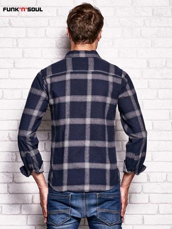 Granatowa koszula męska w kratę FUNK N SOUL