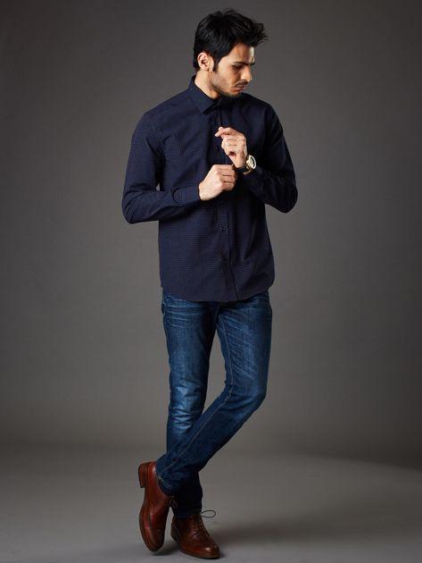 Granatowa koszula męska w kropki regular fit                              zdj.                              4