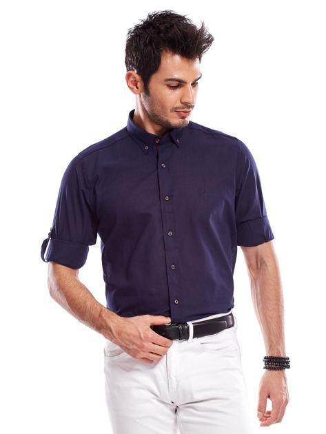 Granatowa koszula męska z podwijanymi rękawami                              zdj.                              6