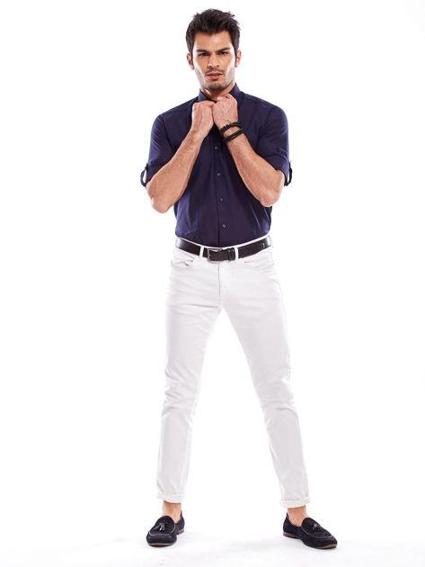Granatowa koszula męska z podwijanymi rękawami                              zdj.                              4