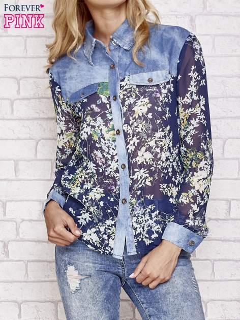 Granatowa koszula w kwiaty ze wstawkami z denimu                                  zdj.                                  1