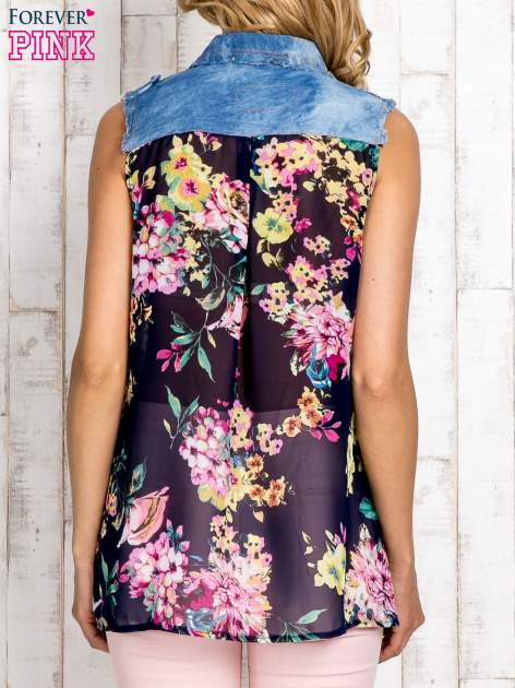 Granatowa koszula z kwiatowym motywem                                  zdj.                                  4