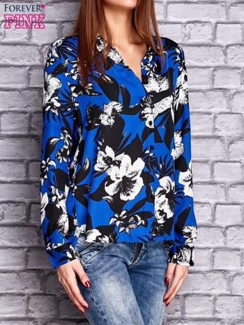 Granatowa koszula z motywem kwiatowym                                  zdj.                                  3