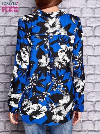 Granatowa koszula z motywem kwiatowym                                  zdj.                                  2
