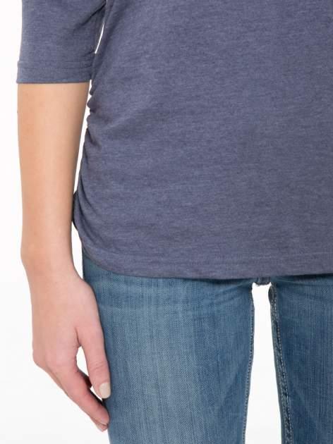 Granatowa luźna bluzka z rękawem 3/4                                  zdj.                                  6