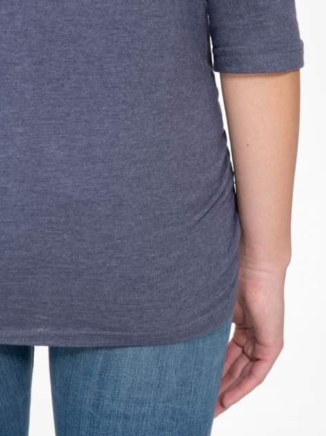 Granatowa luźna bluzka z rękawem 3/4                                  zdj.                                  9