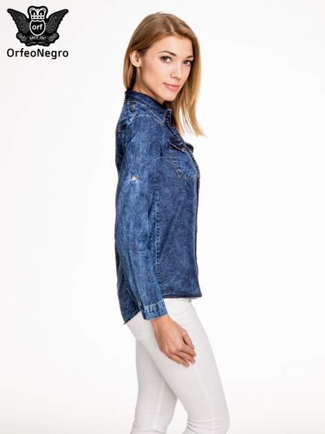 Granatowa marmurkowa koszula z jeansu                                  zdj.                                  3