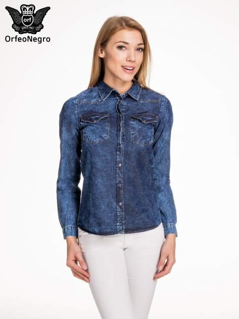 Granatowa marmurkowa koszula z jeansu                                  zdj.                                  1