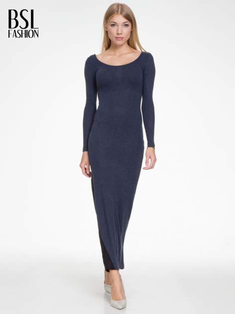 Granatowa maxi sukienka z asymetryczną wstawką na dole z tiulu                                  zdj.                                  2
