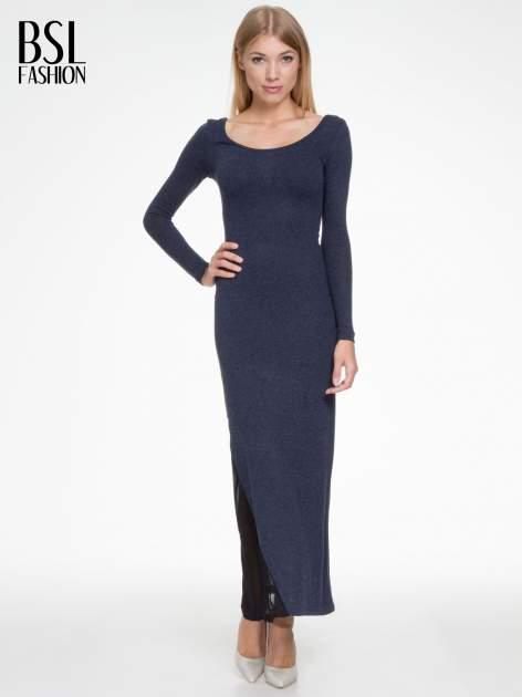 Granatowa maxi sukienka z asymetryczną wstawką na dole z tiulu                                  zdj.                                  1
