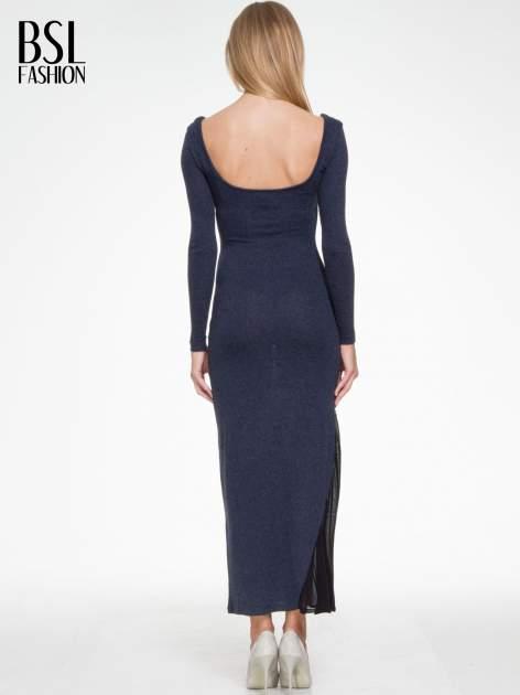 Granatowa maxi sukienka z asymetryczną wstawką na dole z tiulu                                  zdj.                                  4