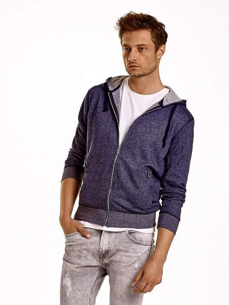 Granatowa melanżowa bluza męska z zasuwanymi kieszeniami                                  zdj.                                  2