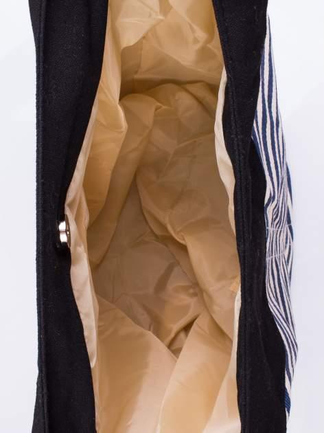 Granatowa plażowa torba hobo w paski na sznurku                                  zdj.                                  3