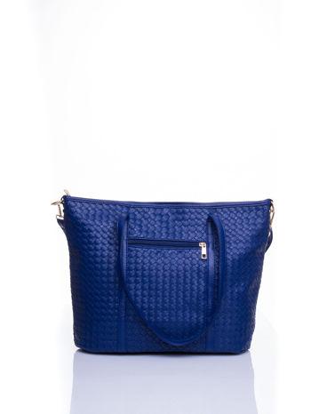 Granatowa pleciona torba shopper bag ze złotym detalem                                  zdj.                                  3