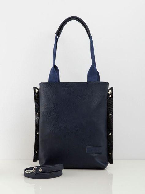 Granatowa prostokątna torba