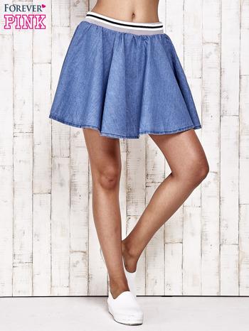 Granatowa rozkloszowana spódnica z gumką w pasie                                  zdj.                                  2