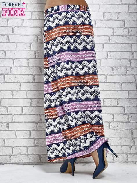 Granatowa spódnica maxi w azteckie wzory                                  zdj.                                  4