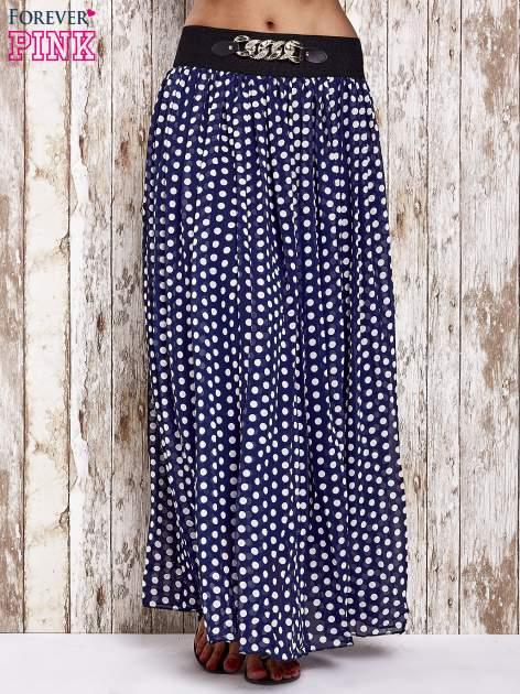 Granatowa spódnica maxi w grochy z ozdobnym pasem