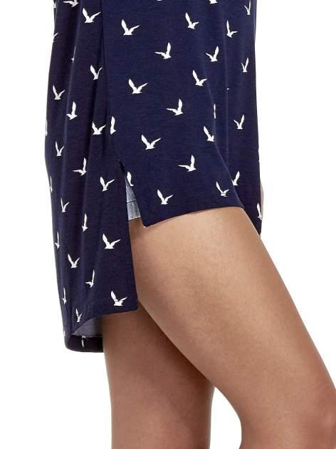 Granatowa sukienka cut out shoulder w ptaszki                                  zdj.                                  5