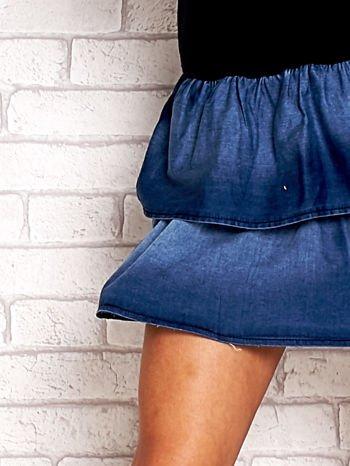 Granatowa sukienka dresowa z jeansowym dołem                                  zdj.                                  5