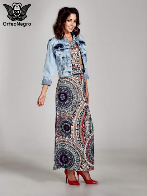 Granatowa sukienka maxi w etniczne wzory                                  zdj.                                  2