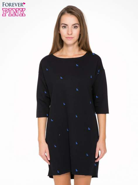 Granatowa sukienka oversize we wzór w ptaszki                                  zdj.                                  1