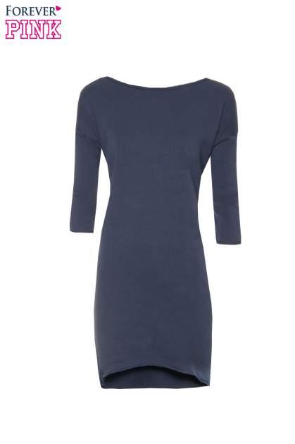Granatowa sukienka oversize z surowym wykończeniem                                  zdj.                                  5