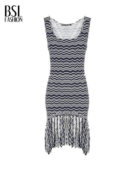 Granatowa sukienka we wzór zig-zag z frędzlami na dole                                  zdj.                                  2