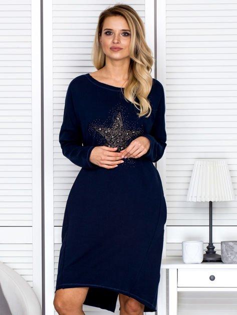 Granatowa sukienka z gwiazdą                               zdj.                              1