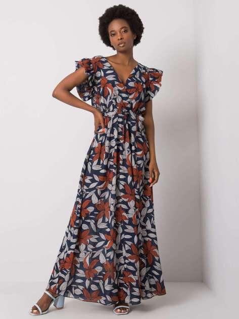 Granatowa sukienka z printem Selena