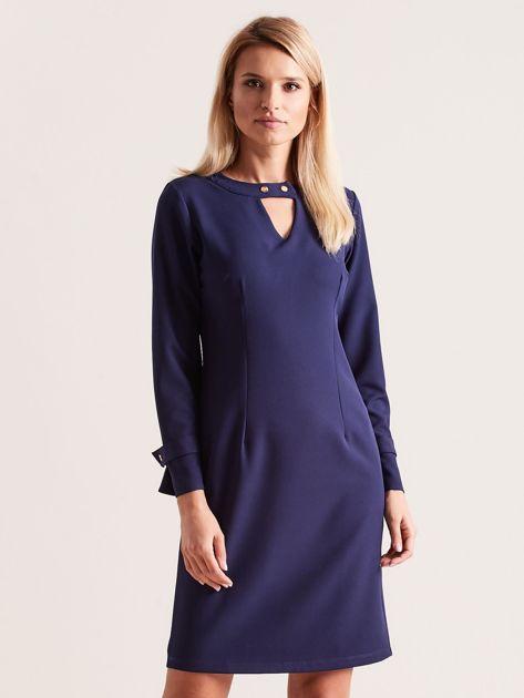 Granatowa sukienka z wycięciem                               zdj.                              1