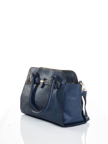 Granatowa torba z klamrami z odpinanym paskiem                                  zdj.                                  4