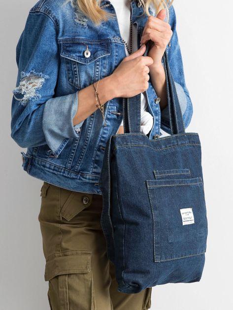 Granatowa torebka jeansowa                              zdj.                              2