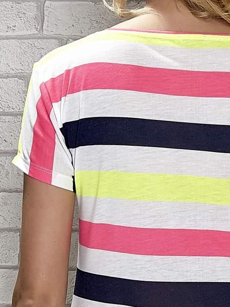 Granatowa tunika w kolorowe pasy                                  zdj.                                  5