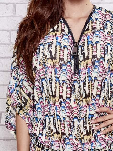 Granatowa wzorzysta koszula nietoperz z suwakiem                                  zdj.                                  6