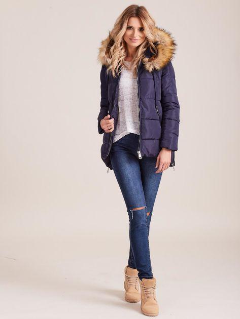 Granatowa zimowa kurtka z futerkiem                              zdj.                              4