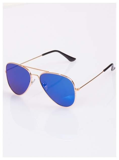 Granatowe AVIATORY w złotej oprawie - okulary przeciwsłoneczne pilotki lustrzanki unisex