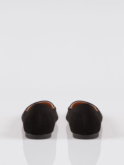 Granatowe baleriny eco suede z lakierowanym noskiem w szpic                                  zdj.                                  3