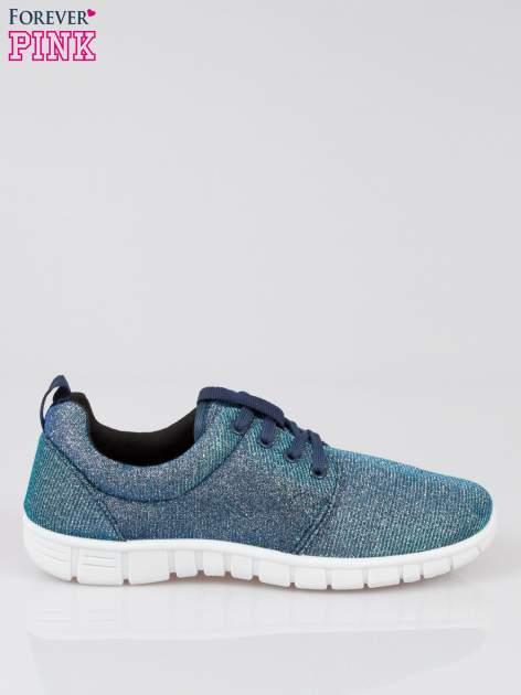 Granatowe buty sportowe textile Diamonds z metaliczną nitką                              zdj.                              1