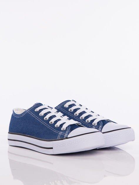 Granatowe denim jeansowe trampki na białej podeszwie                              zdj.                              2