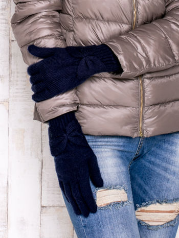 Granatowe długie rękawiczki z kokardą i prążkowanym ściągaczem                                  zdj.                                  3